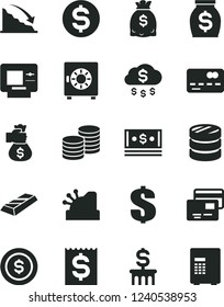 Solid Black Vector Icon Set - dollar vector, strongbox, cards, coins, front of the bank card, column, recession, financial item, money, dollars, cash, cashbox, gold bar, bag hand, rain, coin, atm