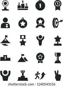 Solid Black Vector Icon Set - pedestal vector, winner, podium, cup, gold, star reward, man arrow up, with medal, motivation, mountain flag, purpose, first place, pennant, hero, ribbon, hands
