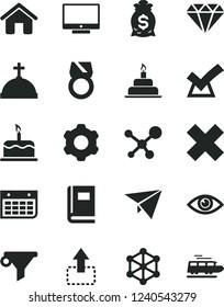 Solid Black Vector Icon Set - cross vector, birthday cake, house, cogwheel, eye, screen, move up, water filter, wall calendar, molecule, book, 3d cube, diamond, gold ring, confirm, money bag, train
