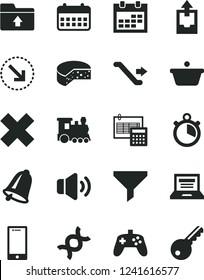 Solid Black Vector Icon Set - laptop vector, calendar, cross, upload archive data, folder, calculation, bell, smartphone, volume, right bottom arrow, cheese, pan, filter, joystick, dna, stopwatch