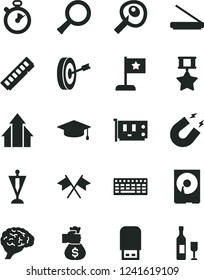 Solid Black Vector Icon Set - keyboard vector, memory, pc card, hdd, scanner, usb flash, zoom, brain, magnet, artifical insimination, stopwatch, growth arrows, graduate, star flag, pennant, purpose