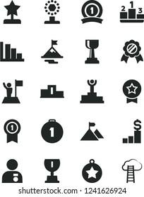 Solid Black Vector Icon Set - positive histogram vector, pedestal, winner podium, award, cup, gold, star reward, man with medal, flag, motivation, mountain, first place, pennant, ribbon, dollar