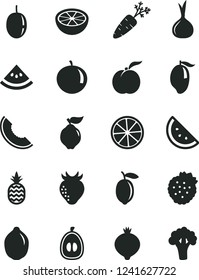 Solid Black Vector Icon Set - strawberries vector, a pineapple, orange slice, ripe peach, quince, strawberry, medlar, of melon, mango, tangerine, half loquat, passion fruit, lemon, lime, grapefruit