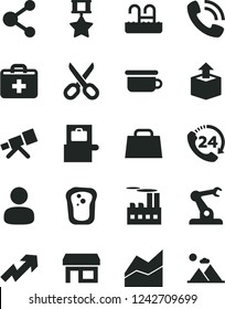 Solid Black Vector Icon Set - scissors vector, first aid kit, growth up, line chart, children's potty, 24, unpacking, sandwich, industrial building, assembly robot, stall, connection, man, hand bag