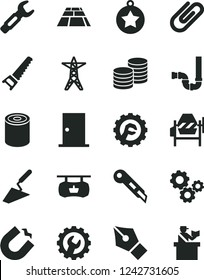Solid Black Vector Icon Set - trowel vector, concrete mixer, hand saw, siphon, ntrance door, gear, star, stationery knife, paving slab, coins, clip, tin, power line, horseshoe magnet, gears, ink pen