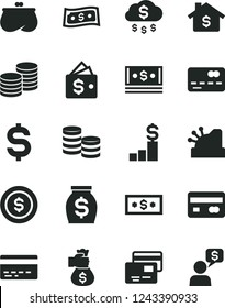 Solid Black Vector Icon Set - bank card vector, cards, coins, reverse side of a, front the, denomination dollar, purse, money, cash, cashbox, bag hand, rain, coin, mortgage, pedestal, wallet, dialog