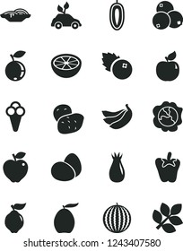 Solid Black Vector Icon Set - eggs vector, slices of onion, peper, cone, blueberries, squash, quince, apricot, red apple, rose hip, blueberry, water melon, loquat, sweet date fruit, bananas, potato