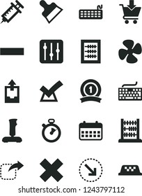 Solid Black Vector Icon Set - keyboard vector, minus, cross, upload archive data, new abacus, putty knife, regulator, put in cart, move right, bottom arrow, fan screw, calendar, joystick, syringe