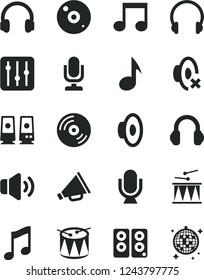 Solid Black Vector Icon Set - desktop microphone vector, horn, loudspeaker, silent mode, drumroll, drum, headphones, music, CD, regulator, volume, pc speaker, note, disco ball