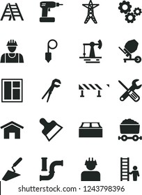 Solid Black Vector Icon Set - builder vector, trowel, concrete mixer, window, small tools, adjustable wrench, cordless drill, ladder, building block, plummet, putty knife, road fence, home, gears