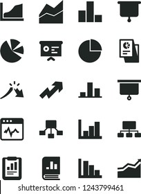 Solid Black Vector Icon Set - growth up vector, pie chart, bar, line, negative histogram, positive, cardiogram, a crisis, statistical report, scheme, hierarchical, charts, book on statistics, graph