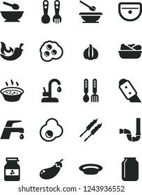 Solid Black Vector Icon Set - deep plate with a spoon vector, plates and spoons, plastic fork, iron, sink, siphon, knife, faucet mixer, kitchen, porridge in saucepan, lettuce, barbecue, chili