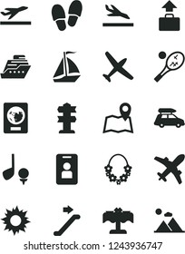 Solid Black Vector Icon Set - plane vector, car baggage, sail boat, escalator, passport, departure, arrival, sun, hawaii wreath, restaurant, tennis, map, access card, signpost, golf, cruiser