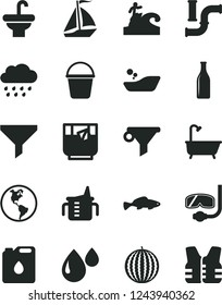 Solid Black Vector Icon Set - measuring cup for feeding vector, children's bathroom, rainy cloud, bucket, washbasin, bath, small fish, a glass of tea, water melon, pipes, planet Earth, canister oil