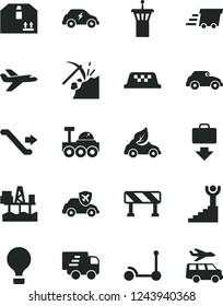 Solid Black Vector Icon Set - Kick scooter vector, traffic signal, cardboard box, commercial seaport, coal mining, eco car, electric transport, retro, autopilot, urgent cargo, Express delivery, taxi