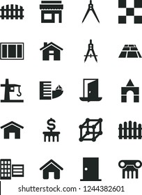 Solid Black Vector Icon Set - house vector, box of bricks, window frame, ntrance door, city block, tile, fence, hedge, paving slab, home, tower crane, Measuring compasses, drawing compass, 3d cube