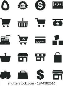 Solid Black Vector Icon Set - paper bag vector, grocery basket, bank card, dollar, cubes for children, cart, crossed, kiosk, stick of sausage, shopping, antique advertising signboard, purse, cash