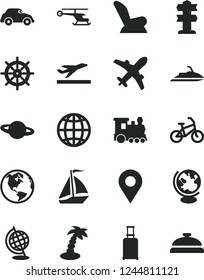 Solid Black Vector Icon Set - car child seat vector, earth, planet, retro, location, globe, helicopter, train, sail boat, bike, rolling suitcase, plane, departure, palm tree, signpost, handwheel