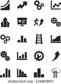 Solid Black Vector Icon Set - growth up vector, bar chart, graph, positive histogram, gears, stepladder, gear, three, financial report, man arrow, arrows, cloud ladder