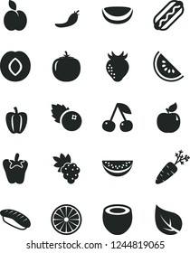 Solid Black Vector Icon Set - Hot Dog vector, peper, japanese sushi, blueberries, apple, cherry, grape, apricot, plum, strawberry, slice of water melon, half orange, piece coconut, persimmon, red