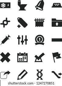 Solid Black Vector Icon Set - calendar vector, minus, cross, add label, upload folder, comfortable toilet, bell, flag, move right, cloth industry, pencil, pc power supply, dna, settings, syringe