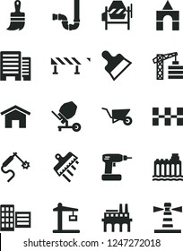 Solid Black Vector Icon Set - box of bricks vector, tower crane, building trolley, concrete mixer, cordless drill, wooden paint brush, siphon, buildings, city block, ceramic tiles, putty knife, home