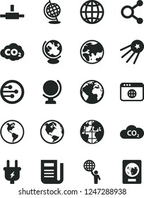 Solid Black Vector Icon Set - sign of the planet vector, globe, earth, plug, CO2, carbon dyoxide, connections, newspaper, network, browser, connect, man hold world, first satellite, passport