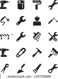 Solid Black Vector Icon Set - paint roller vector, repair key, safety pin, building trowel, small tools, adjustable wrench, cordless drill, hand saw, spatula, road fence, hammer with claw, builder