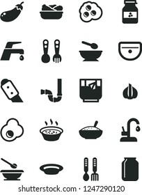 Solid Black Vector Icon Set - deep plate with a spoon vector, plates and spoons, plastic fork, iron, sink, siphon, knife, faucet mixer, kitchen, bowl of rice porridge, in saucepan, lettuce, omelette