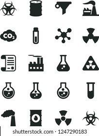 Solid Black Vector Icon Set - round flask vector, manufacture, factory, oil, barrel, industrial building, radiation, carbon dyoxide, water filter, research article, test tube, molecule, nuclear