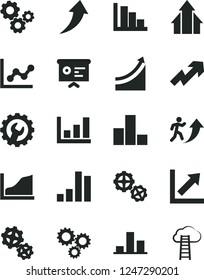 Solid Black Vector Icon Set - growth up vector, bar chart, graph, positive histogram, gears, gear, three, financial report, man arrow, arrows, cloud ladder