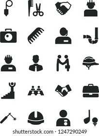 Solid Black Vector Icon Set - accessories for a hairstyle vector, comb, workman, siphon, construction helmet, plummet, employee, camera, builder, welding, briefcase, hand shake, handclasp, agreement