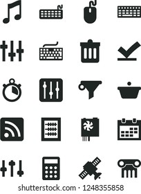 Solid Black Vector Icon Set - calendar vector, keyboard, rss feed, new abacus, dust bin, music, regulator, pan, water filter, calculator, mouse, pc power supply, settings, satellite, stopwatch
