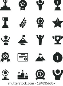 Solid Black Vector Icon Set - star vector, pedestal, medal, winner, laurel branch, podium, prize, award, cup, gold, man hands up, motivation, mountain flag, first place, ribbon, certificate
