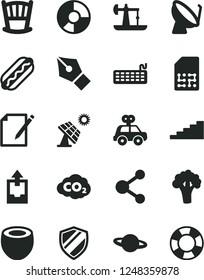 Solid Black Vector Icon Set - upload archive data vector, cradle, motor vehicle present, notes, planet, Hot Dog, half of coconut, broccoli, big solar panel, oil derrick, carbon dyoxide, SIM, ink pen