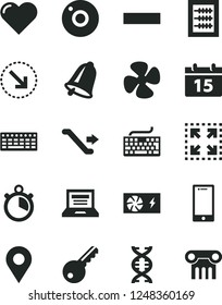 Solid Black Vector Icon Set - camera vector, laptop, keyboard, minus, new abacus, bell, calendar, heart, smartphone, size, right bottom arrow, fan screw, location, pc power supply, dna, stopwatch