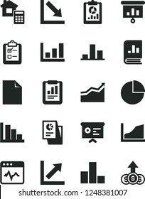 Solid Black Vector Icon Set - clean sheet of paper vector, pie chart, bar, growth, negative, positive histogram, estimate, cardiogram, survey, statistical report, overview, book on statistics, graph