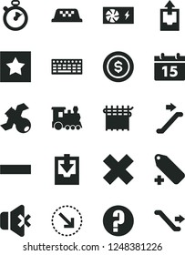Solid Black Vector Icon Set - minus vector, cross, add label, upload archive data, download, question, calendar, no sound, right bottom arrow, cloth industry, keyboard, pc power supply, satellite