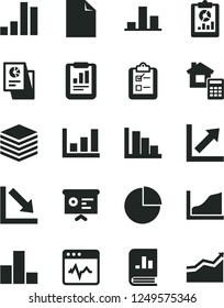 Solid Black Vector Icon Set - clean sheet of paper vector, pie chart, bar, growth, negative, positive histogram, estimate, cardiogram, pile, survey, statistical report, overview, book on statistics