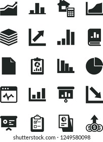 Solid Black Vector Icon Set - clean sheet of paper vector, pie chart, growth, negative, positive histogram, estimate, cardiogram, pile, survey, bar, statistical overview, book on statistics, graph