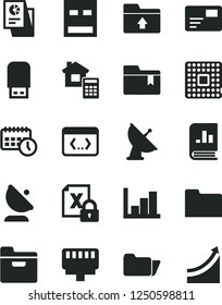 Solid Black Vector Icon Set - negative histogram vector, folder bookmark, upload, estimate, pass card, processor, satellite antenna, book on statistics, statistical research, agenda, encrypting, usb