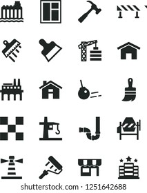 Solid Black Vector Icon Set - house vector, tower crane, concrete mixer, window, paint roller, wooden brush, siphon, tile, putty knife, spatula, road fence, hammer with claw, core, home, kiosk
