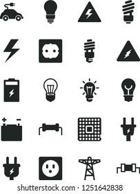 Solid Black Vector Icon Set - lightning vector, danger of electricity, saving light bulb, power socket type f, charging battery, accumulator, pole, plug, electric, energy, car, processor, resistor