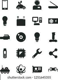 Solid Black Vector Icon Set - bulb vector, smartphone, operator, accumulator, light, environmentally friendly transport, smd, repair key, connection, computer, pc power supply, card, cd, scanner