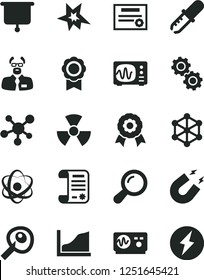 Solid Black Vector Icon Set - research article vector, molecule, atom, nuclear, zoom, gears, pipette, oscilloscope, magnet, scientist, artifical insimination, growth graph, medal, presentation board