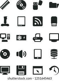 Solid Black Vector Icon Set - monitor window vector, rss feed, CD, big data server, volume, computer, tablet pc, power supply, memory, printer, usb flash, browser, folder, floppy, joystick, history