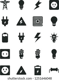 Solid Black Vector Icon Set - lightning vector, danger of electricity, matte light bulb, saving, power socket type b, f, charge level, charging battery, pole, plug, electric, energy, processor
