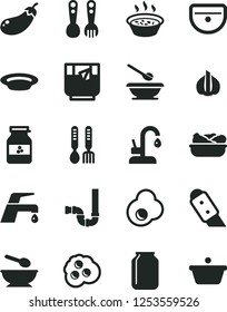 Solid Black Vector Icon Set - deep plate with a spoon vector, plates and spoons, plastic fork, iron, sink, siphon, knife, faucet mixer, kitchen, porridge in saucepan, lettuce, glass of tea, omelette