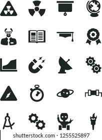Solid Black Vector Icon Set - book vector, electricity, nuclear, gears, globe, magnet, scientist, graduate hat, drawing compass, growth graph, medal, robot, satellite antenna, saturn, stopwatch