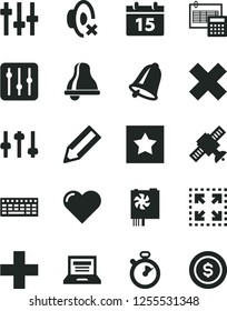 Solid Black Vector Icon Set - bell vector, laptop, plus, cross, silent mode, calculation, calendar, heart, regulator, size, pencil, keyboard, pc power supply, settings, satellite, stopwatch, star